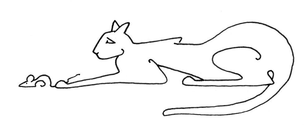 single line cat w mouse under paw